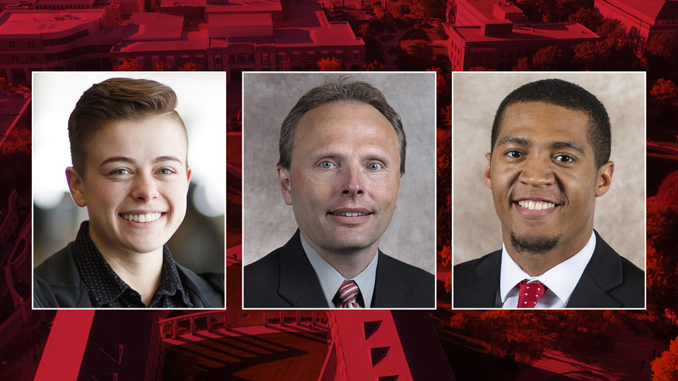 Nebraska's (from left) Kai Meacham, Keith Zimmer and DaWon Baker will receive the 2019 Chancellor's Award for Outstanding Contributions to the Gay, Lesbian, Bisexual and Transgender Community.