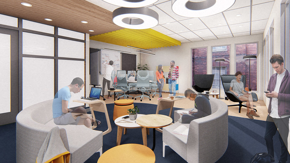 A University of Nebraska–Lincoln team's proposed renovation of a little-used TV lounge in the Robert E. Knoll Residential Center features multiple study spaces designed to allow for collaboration between students.