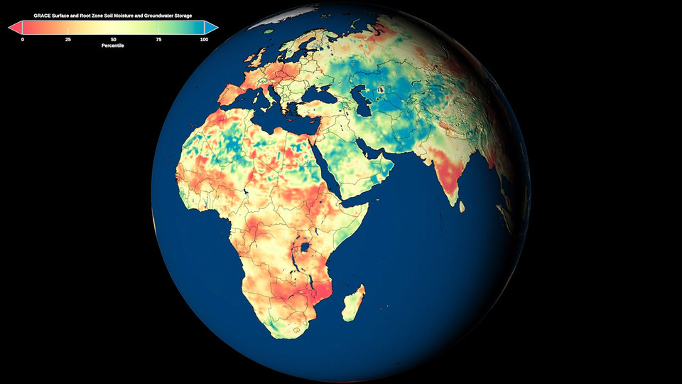 Information from the NASA GRACE-FO satellites is being used to produce and share first-of-their-kind global maps of topsoil, root zone soil and groundwater moisture, as well as 30-, 60- and 90-day forecasts of wet and dry conditions across the continental United States, thanks to a collaboration with the Center for Advanced Land Management Information Technologies and National Drought Mitigation Center.