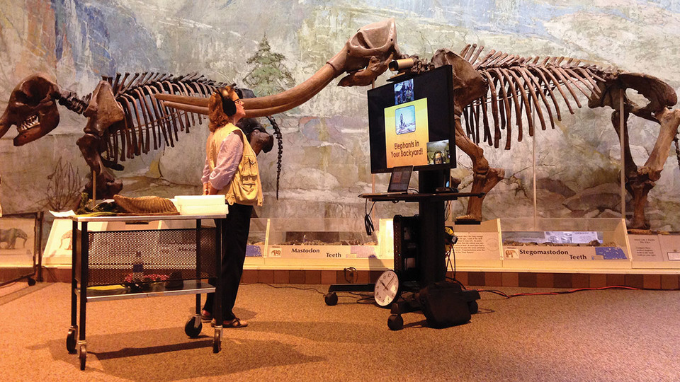 Annie Mumgaard, virtual learning coordinator at the University of Nebraska State Museum, leads a virtual field trip about mammoths and elephants for an elementary classroom. The public can register for a virtual field trip at 10 a.m., noon or 2 p.m. each Tuesday in April.