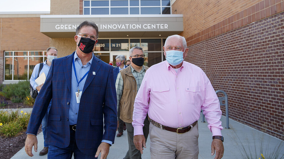 Andy Benson, director of the Nebraska Food for Health Center, discusses the medical benefits of food to U.S. Secretary of Agriculture Sonny Perdue during a tour of Nebraska Innovation Campus on Sept. 4.