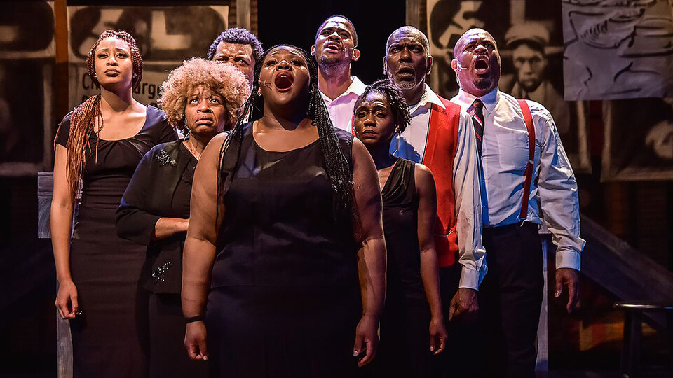 """The ensemble performs in the Black Rep production of """"Crossin' Over."""""""