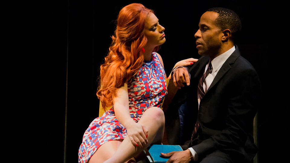"""Ron Himes, producing director of the St. Louis Black Repertory Company, directed the play """"Dutchman"""" — featuring Emily Raine Blythe and Eugene H. Russell IV (pictured) — at the Nebraska Repertory Theatre in February 2019. Himes will serve as consultant for the new two-year collaboration between Nebraska Rep and The Black Rep."""