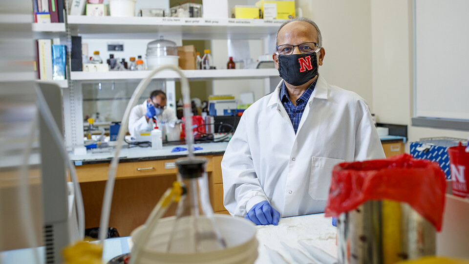 Cutline: Nebraska's Asit Pattnaik (pictured) and UNMC's Tom Petro are developing a vaccine framework that exploits the properties of a naturally occurring nanoparticle in an effort to produce a stronger, longer-lasting immune response than other COVID-19 vaccine candidates. They're also taking a closer look at how SARS-CoV-2, the coronavirus that causes COVID-19, inhibits the immune system.