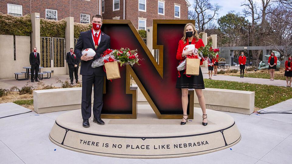 Seniors Cooper Grabenstein and Lauren Kubat were crowned homecoming royalty during halftime of the Nebraska-Penn State football game Nov. 14.