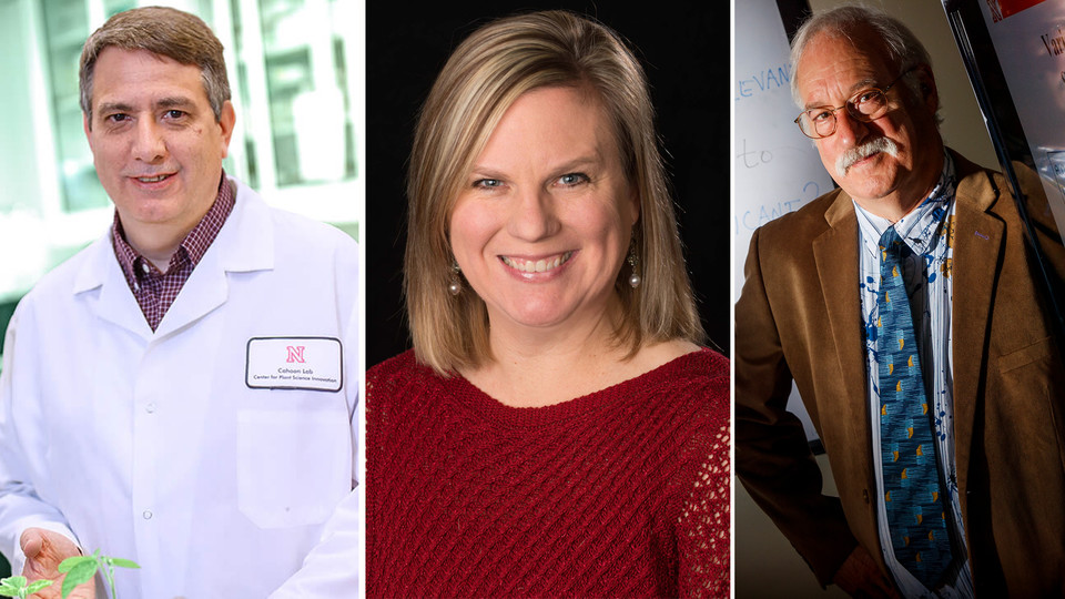 Faculty (from left) Ed Cahoon, Jody Koenig Kellas and Walter Stroup are among winners of the University of Nebraska's most prestigious awards for research, creative activity, teaching and engagement.