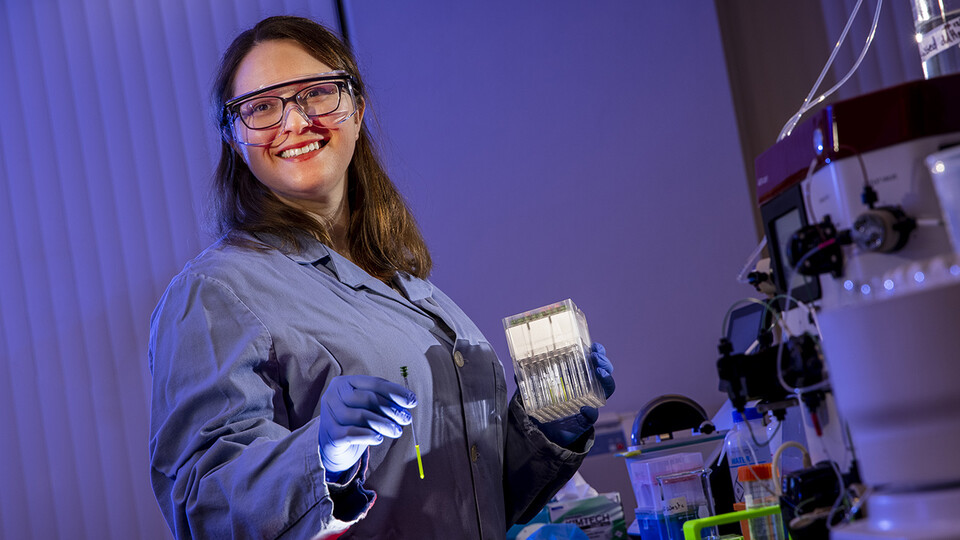 Catherine Eichhorn, assistant professor of chemistry at Nebraska, will use a five-year, $1 million grant from the National Science Foundation's Faculty Early Career Development Program to develop a clearer picture of the structure-function relationship in RNA and ribonucleoproteins, or RNPs, which are RNA-protein complexes. She's focusing her work on 7SK RNP, a key player in regulating gene expression.