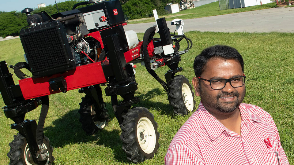 Santosh Pitla, associate professor of biological systems engineering at Nebraska, and his team are working on a new approach for refilling Unmanned Ground Vehicle seed tanks using aerial robots.