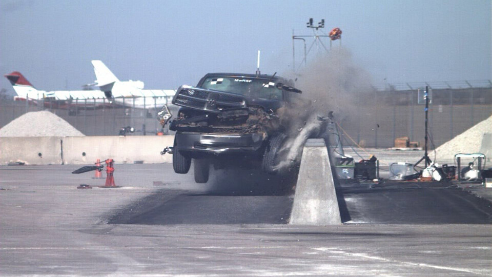 A crash test is conducted at the University of Nebraska–Lincoln's Midwest Roadside Safety Facility. Researchers at the facility will conduct and participate in testing across key surface transportation safety technology areas to support the Transportation Technology Center.