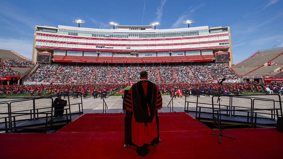 Chancellor Ronnie Green welcomes graduates and their guests to the morning undergraduate commencement ceremony May 8 at Memorial Stadium. The university conferred a record 3,594 degrees during commencement exercises May 7 and 8.