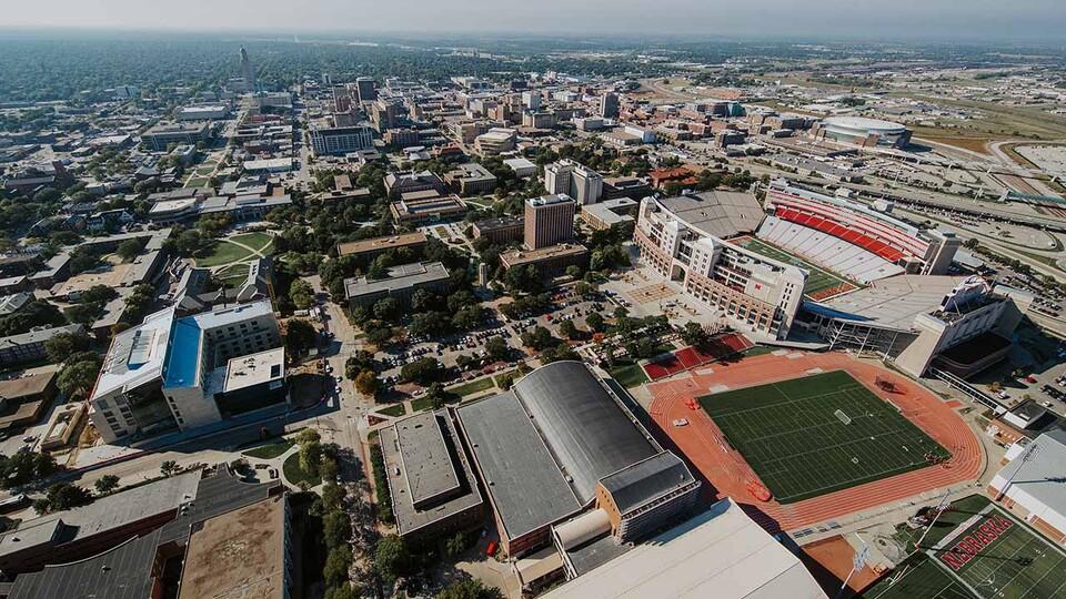 Aerial shot of the University of Nebraska–Lincoln