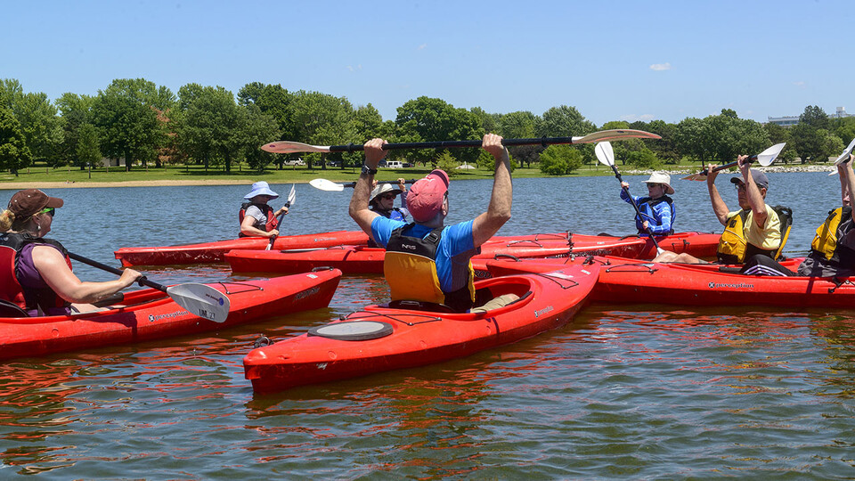 OLLI students receive an introduction to kayaking in 2015 at Holmes Lake. Attendees of the OLLI Showcase — 12:30 to 4 p.m. Aug. 12 at the Nebraska Innovation Campus Conference Center and on Zoom — will sample abbreviated classes taught by OLLI instructors.