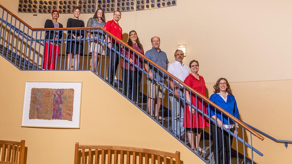 The project team includes (from left) senior personnel Deepika Menon, Tiffany Heng-Moss, Mindi Searls and L.J. McElravy; co-principal investigators Gina Matkin, David Harwood, Dan Claes and Wendy Smith; and principal investigator Elizabeth Lewis.