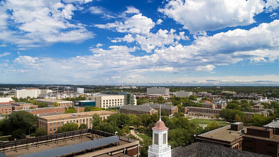 Aerial photo of University of Nebraska–Lincoln campus
