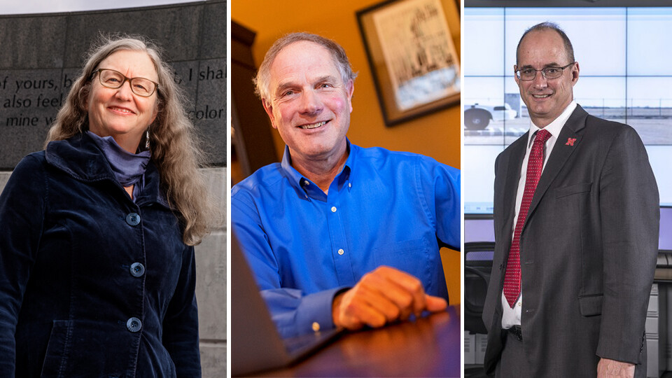 Faculty (from left) Margaret Jacobs, Ken Kiewra and Laurence Rilett are among the 2021 winners of the University of Nebraska's most prestigious awards for research, creative activity, teaching and engagement.