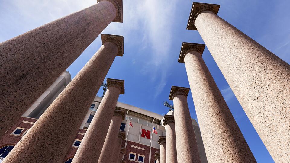 Historic columns located near Ed Weir Track on the northeast corner of Memorial Stadium.