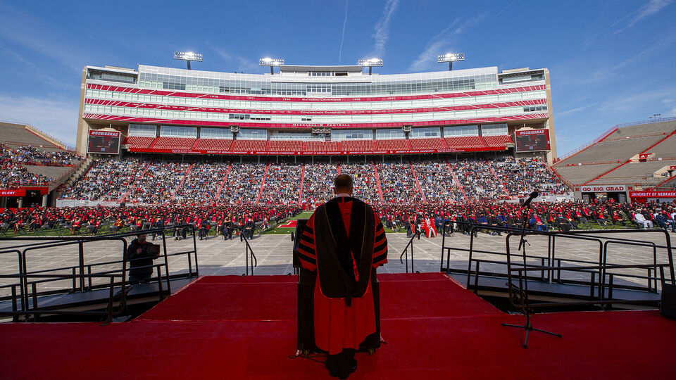 Chancellor Ronnie Green welcomes graduates and guests to the first of two undergraduate commencement ceremonies on May 8 in Memorial Stadium.