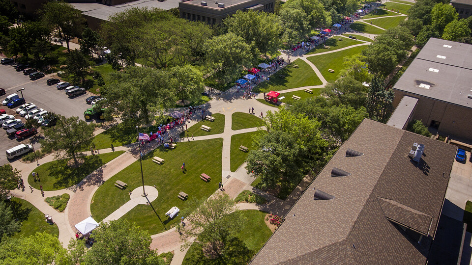 Aerial view of the East Campus mall where the first East Campus Discovery Days was held on June 12.