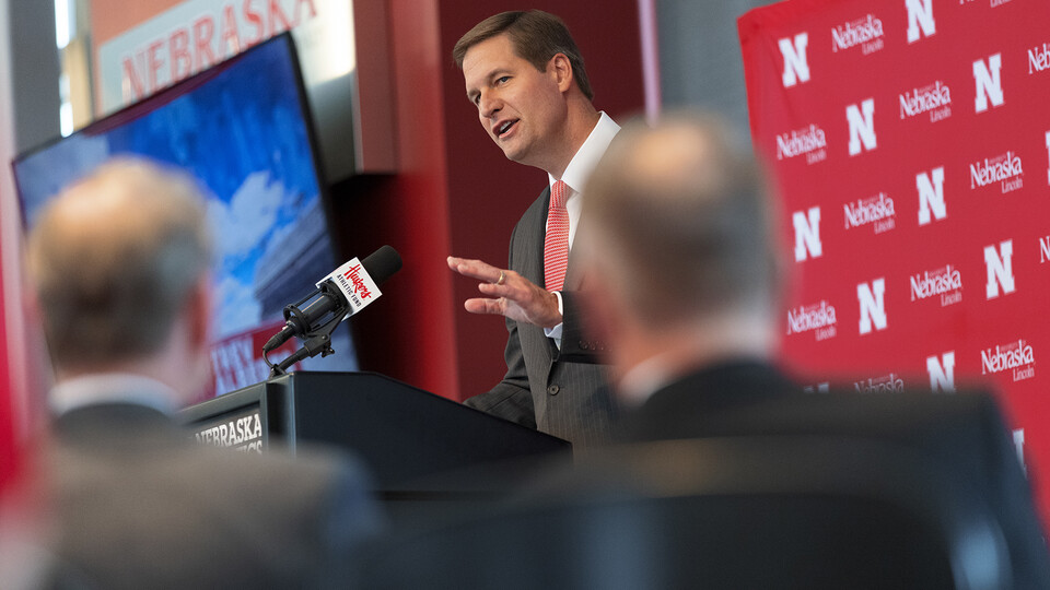 Trev Alberts, Nebraska's new athletic director, addresses during the media during the July 14 press conference in Memorial Stadium. Alberts returns to his alma mater after spending the last 16 years leading University of Nebraska at Omaha athletics.