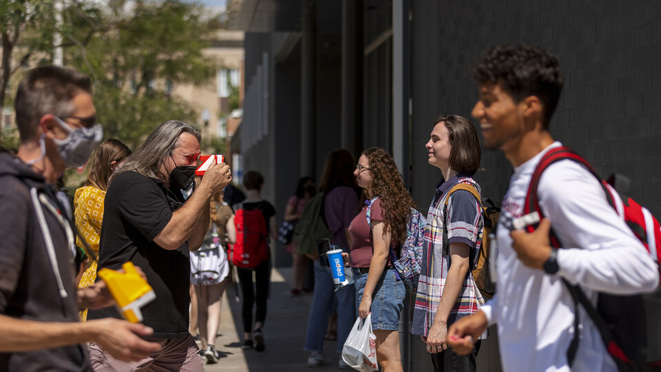 Johnny Carson Center for Emerging Media Arts students gathered outside the building on the afternoon of Aug. 27 for picture day. The photos were done on old-school Polaroid instant film. The images will be posted in the center so all the students can know each other better.