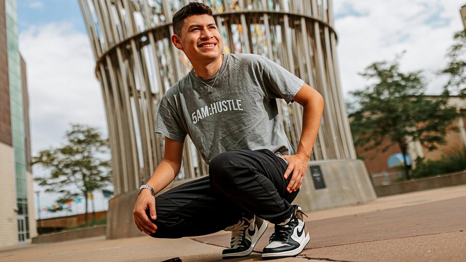 Nebraska's Edwin Mendez-Rodriguez is a business major from Grand Island.