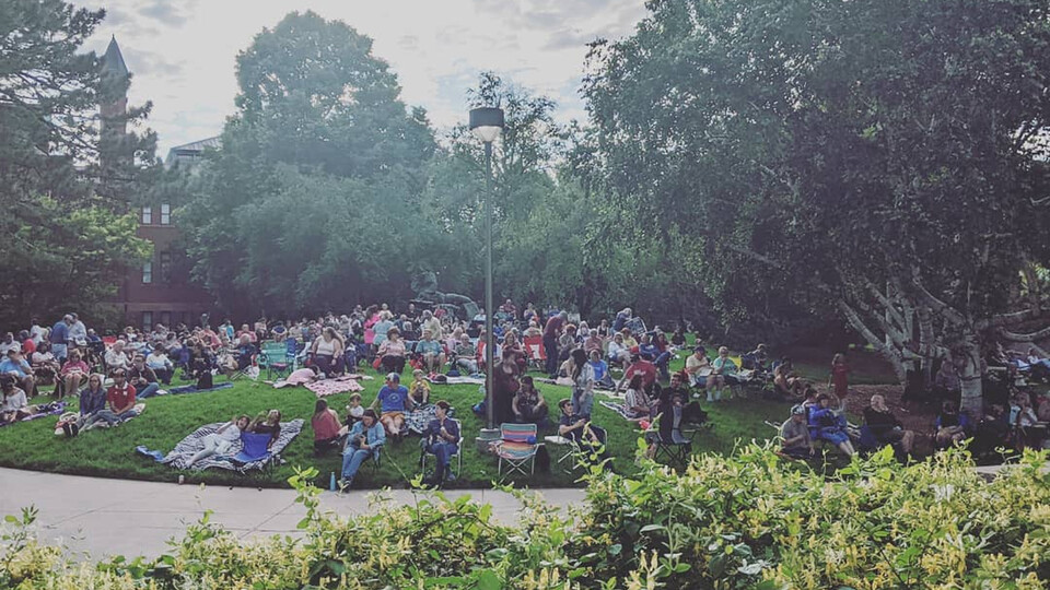 Katie Nieland, associate director of the Center for Great Plains Studies, was among the hundreds who attended the return of Jazz in June on June 1. The concert series, offered ever Tuesday evening in June in the sculpture garden west of Sheldon Museum of Art, was canceled in 2020 due to COVID-19.