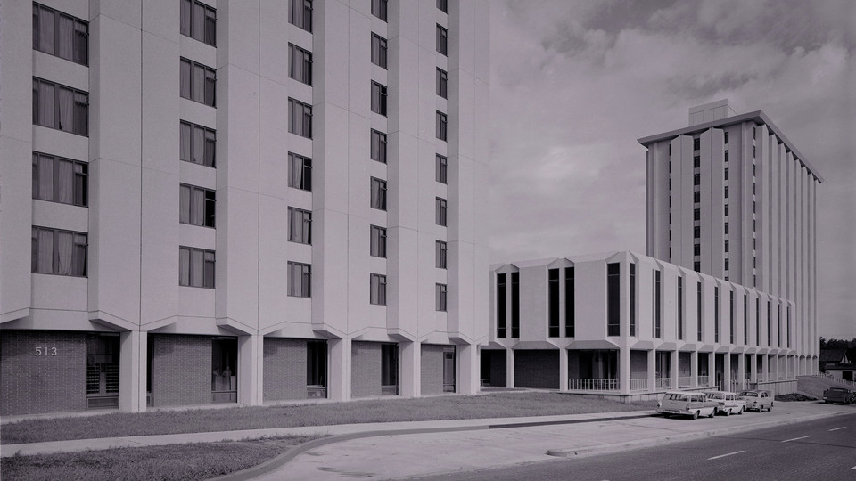 The Cather-Pound Residence Hall Complex when it opened in 1963. The university will raze the halls on Dec. 22.