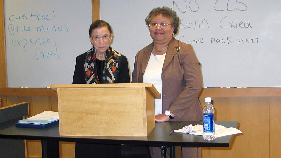 Anna W. Shavers (right) stands with U.S. Supreme Court Justice Ruth Bader Ginsburg in a College of Law classroom on April 7, 2006. Ginsburg delivered a Hruska Lecture and talked with law and journalism students.