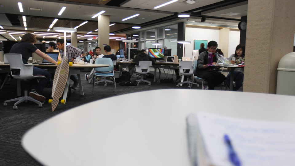 UNL students make use of UNL's Adele Coryell Hall Learning Commons during dead week. The 24-hour, collaborative study space opened for student use in January.