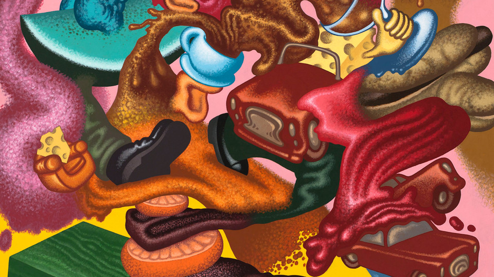 """Peter Saul's """"Abstract Expressionist Still Life"""" is featured in """"Original Behavior,"""" a new exhibition opening Jan. 17 at Nebraska's Sheldon Museum of Art."""