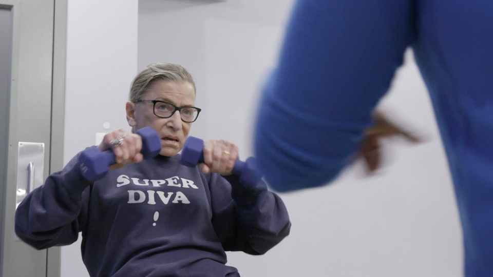 "U.S. Supreme Court Justice Ruth Bader Ginsburg works out in the documentary ""RGB,"" which opens May 18 at the Mary Riepma Ross Media Arts Center."