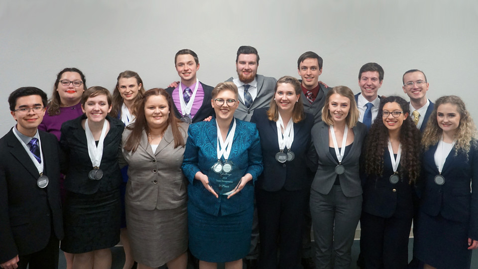 The Husker speech and debate team earned its seventh-straight Big Ten title Jan. 21. Team members participating in the tournament are (front row, from left) Jordan Duffin Wong, Becca Human, Kylie Turner, Chloe Meier, Mattison Merritt, Tia Rasmussen, Guadalupe Esquivel, Maim Virgillito, (back row) Jennica Boardman, Madison Morrissette, Sam Baue, Jack Militi, Andrew Phares, Cole Shardelow and Wesley Deuel.