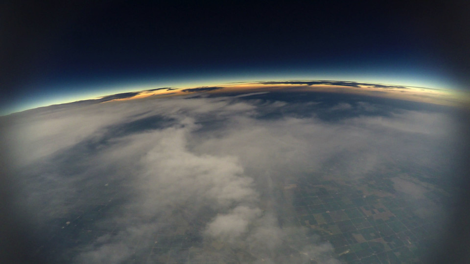 Aerial image of the approaching eclipse shadow captured by the Nebraska team that launched high altitude balloons to study the Aug. 21 event.