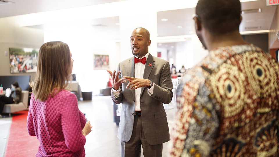 Marco Barker talks with members of the campus community in the Nebraska Union in the days after he started in April as the university's first vice chancellor for diversity and inclusion. Barker is offering regular office hours to meet directly with students, faculty and staff.
