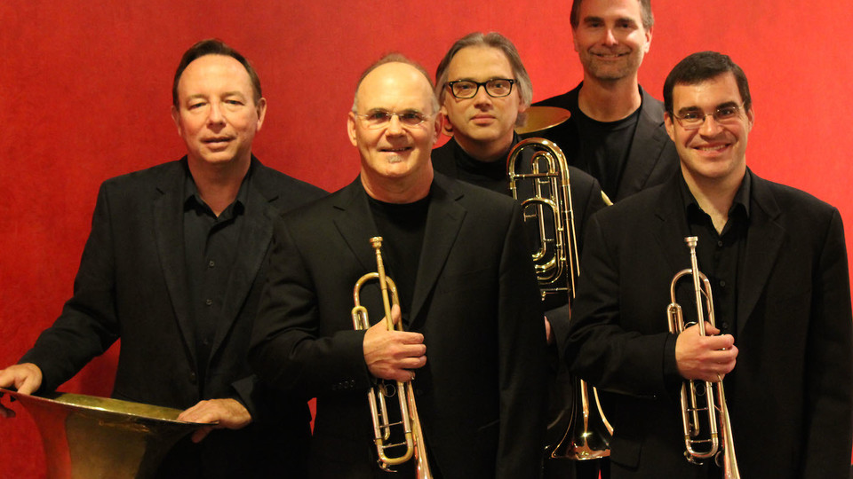 Members of the University of Nebraska Brass Quintet are (from left) Craig Fuller, K. Craig Bircher, Scott Anderson, Alan Mattingly and Scott Quackenbush.