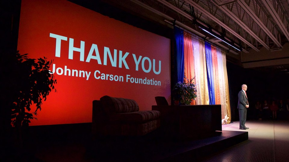 Chancellor Harvey Perlman announces a $20 million gift from the Johnny Carson Foundation on Nov. 6. The gift will create the Johnny Carson Center for Emerging Media Arts, which will be part of UNL's College of Fine and Performing Arts.