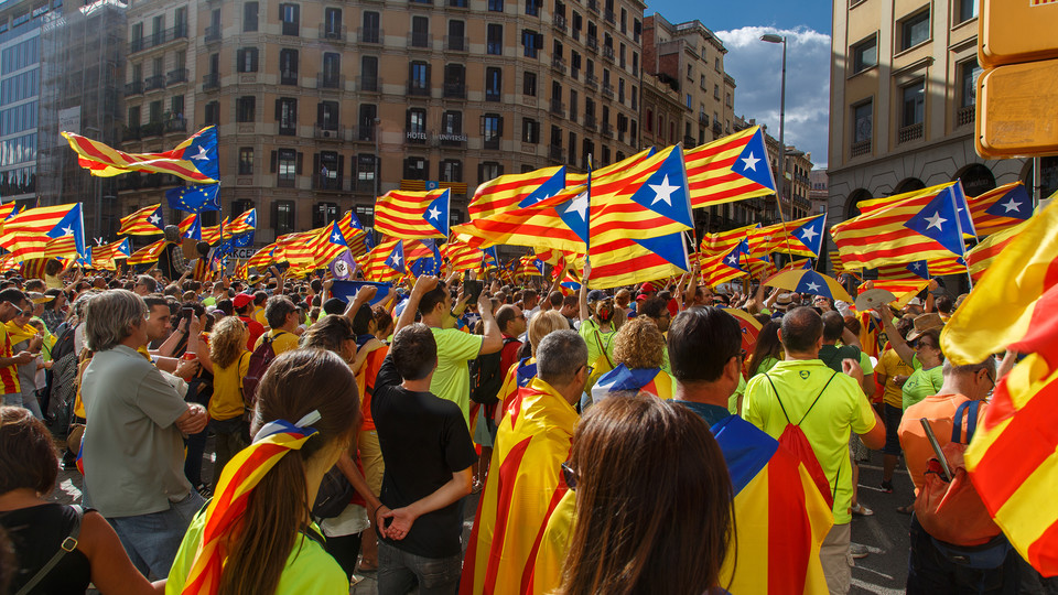People rally in support of Catalonia independence during national day in Barcelona, Spain, on Sept. 11, 2017.