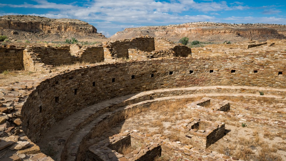 A kiva, or round room, is shown at Pueblo Bonito inside Chaco Culture National Historical Park in New Mexico.