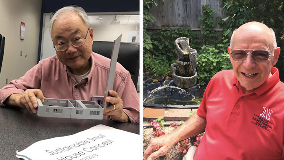 Nebraska Engineering's Bing Chen (left) and Jerry Varner have earned Service Awards for 55 years on campus. They are among nearly 1,000 employees who will earn the awards for years of service to the university.