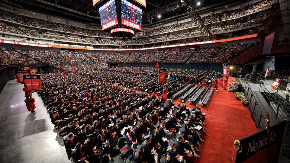Nearly 2,100 Huskers — 81 percent of the entire graduating class — participated in the 2019 undergraduate commencement ceremony in Pinnacle Bank Arena. The event was the largest graduation in the university's 150-year history. Starting with spring commencement 2019, the undergraduate ceremony will be split into two events — both on May 4. The change will decrease the length of the ceremony and help meet seating limitations on the floor of Pinnacle Bank Arena.