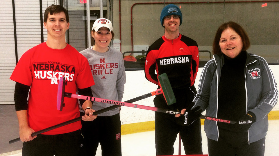 Members of the UNL faculty/staff curling team include (from left) Ryan Janousek, Ashley Stone, Ryan Patrick and Nancy Myers. For more information on the faculty/staff team, contact Myers at nmyers1@unl.edu.