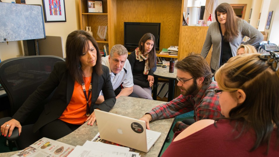 Students from the Digital Humanities Practicum class meet with their clients, representatives of the Nebraska Commission on Indian Affairs to go over changes and additions to the interactive map and website the students are developing for the Commission.
