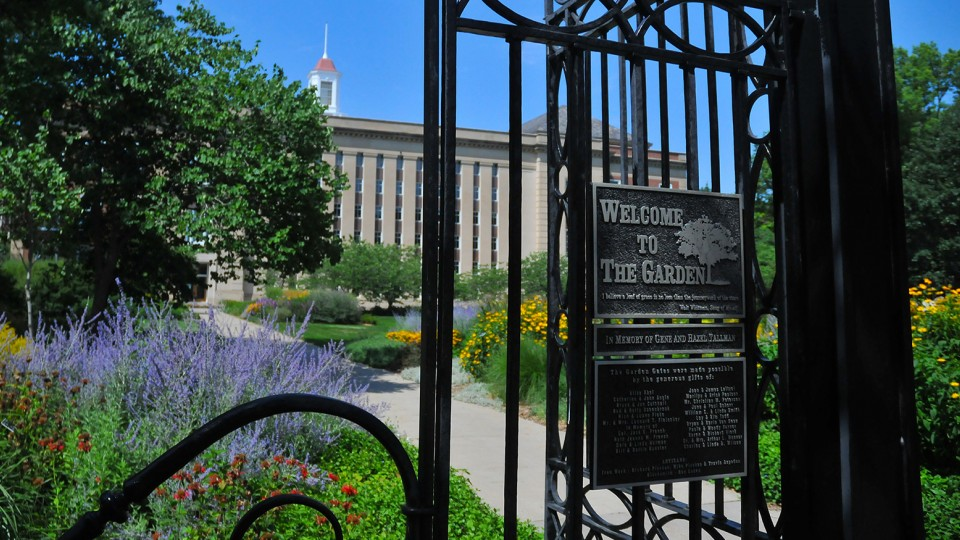 The Garden Gates welcome visitors to UNL's Love Garden, located at 13th and R streets, immediately south of Love Library. The garden is the traditional entrance to City Campus.