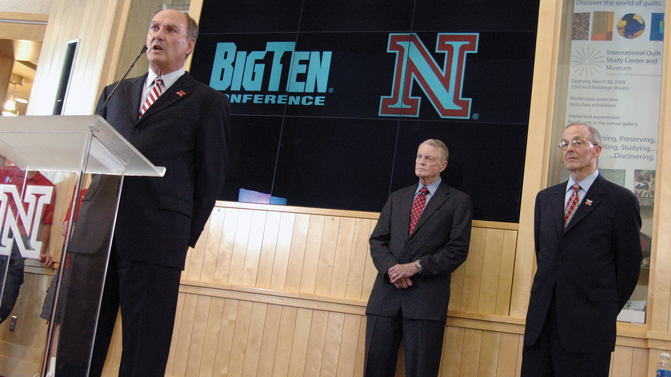 Big Ten Conference commissioner James Delany answers questions during the June 11 announcement that UNL is joining the Big Ten Conference. The move was made as (from right) Chancellor Harvey Perlman and Athletics Director Tom Osborne detected instability among Big 12 schools. XXX