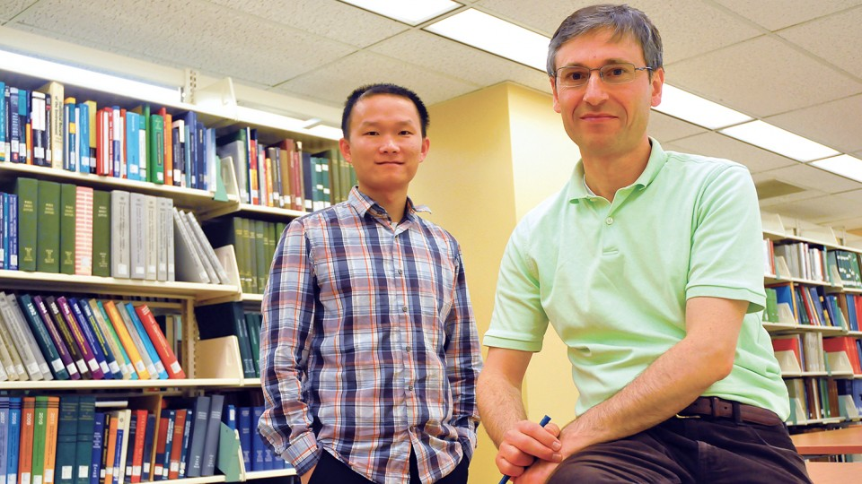 Research by UNL's (from left) Ziguang Chen and Florin Bobaru has led to the creation of a new model that better predicts the effects of corrosion. The study was published in the Feb. 27 online edition of the Journal of the Mechanics and Physics of Solids.