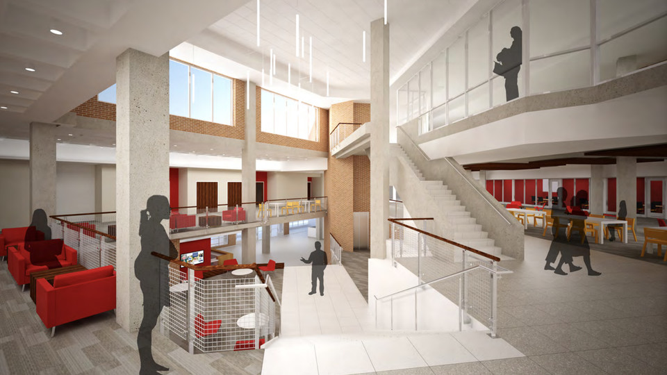Concept drawing of the renovated interior of the Nebraska East Union.