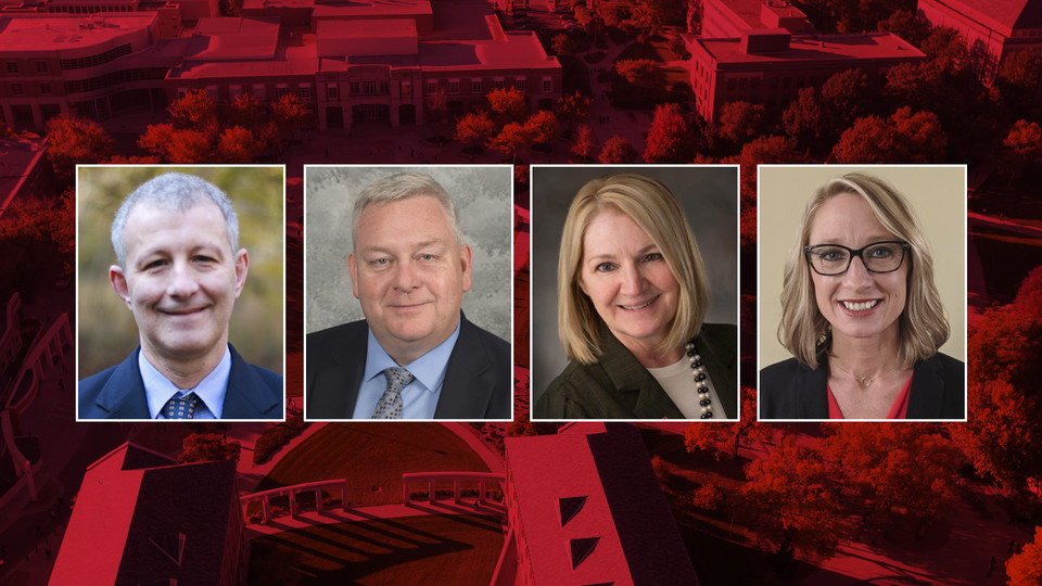 """Finalists for the College of Journalism and Mass Communications dean post are (from left) Raymond """"Bernie"""" Ankney, Joseph Blaney, Amy Struthers and Shari Veil"""