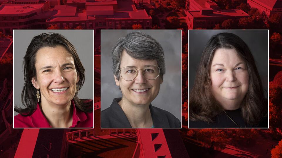 Finalists to serve as Nebraska's next associate vice chancellor/dean of graduate studies are (from left) Jennifer Clarke, Susan Hermiller and Debra Hope.