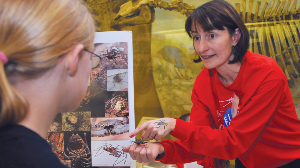 Nebraska's Eileen Hebets discusses her arachnid research with a teenager during a Sunday with a Scientist program at Morrill Hall.