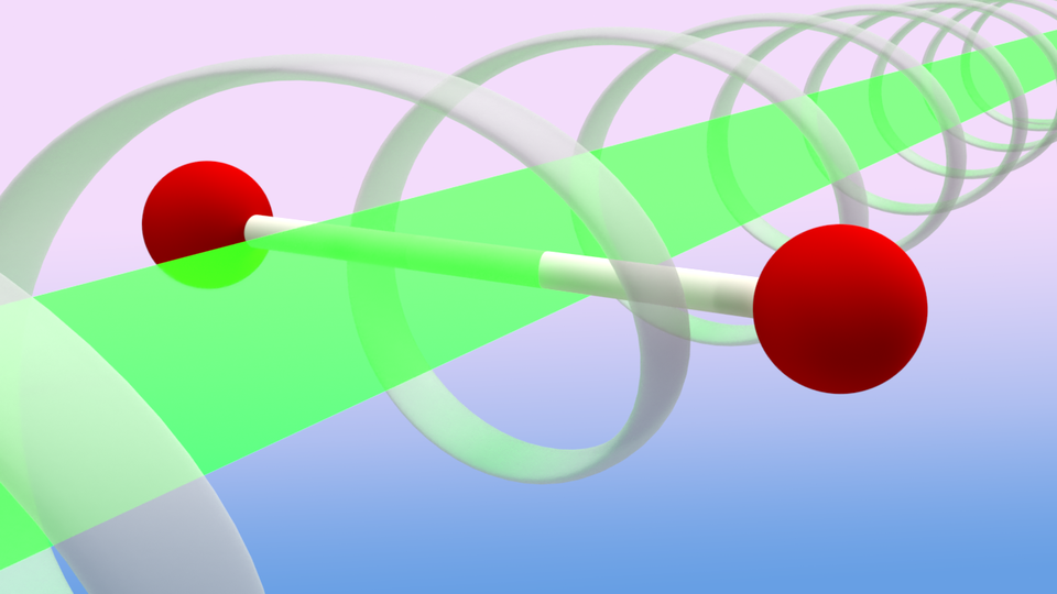 A rendering of a laser pulse striking a molecule that consists of two bonded hydrogen atoms.